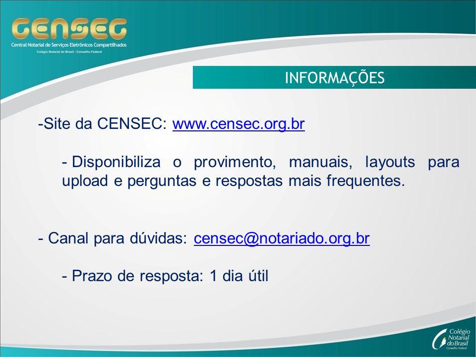 INFORMAÇÕES Site da CENSEC: www.censec.org.br. Disponibiliza o provimento, manuais, layouts para upload e perguntas e respostas mais frequentes.
