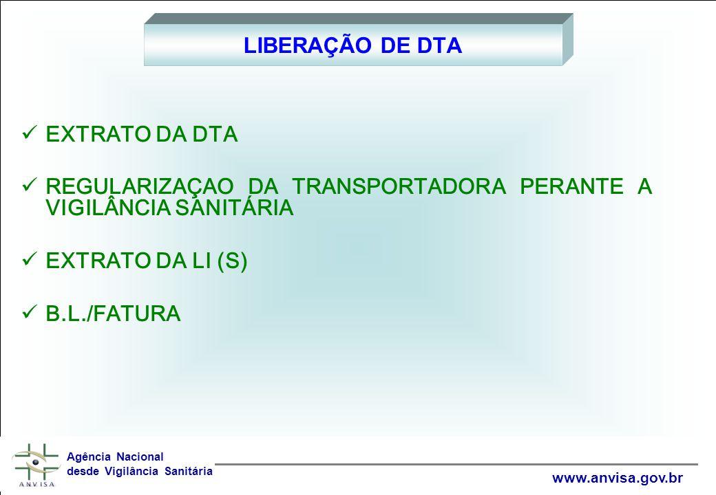 REGULARIZAÇAO DA TRANSPORTADORA PERANTE A VIGILÂNCIA SANITÁRIA
