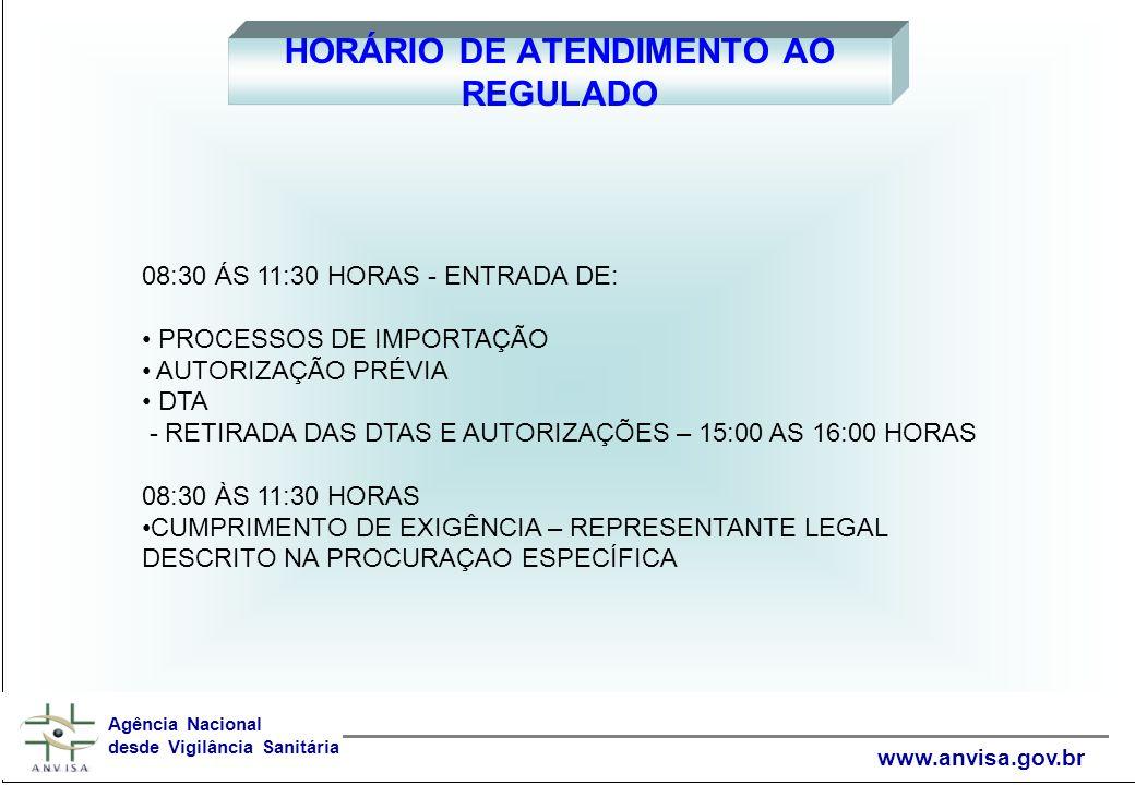 HORÁRIO DE ATENDIMENTO AO REGULADO