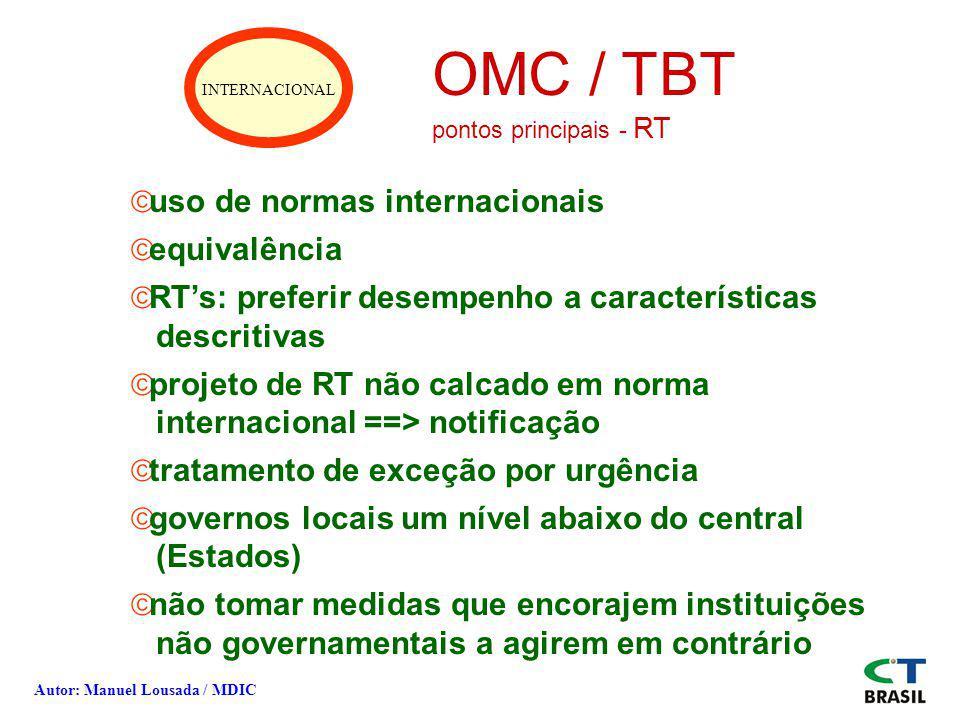 OMC / TBT uso de normas internacionais equivalência