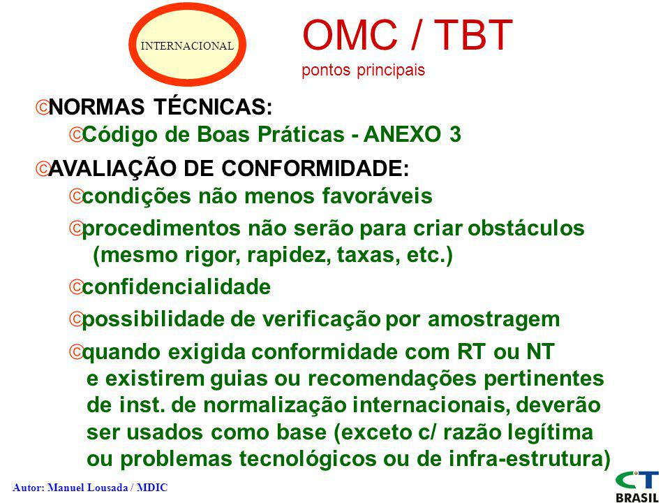 OMC / TBT NORMAS TÉCNICAS: Código de Boas Práticas - ANEXO 3