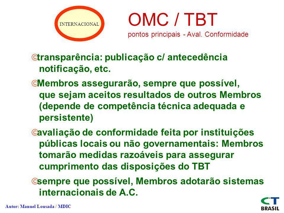 OMC / TBT transparência: publicação c/ antecedência notificação, etc.