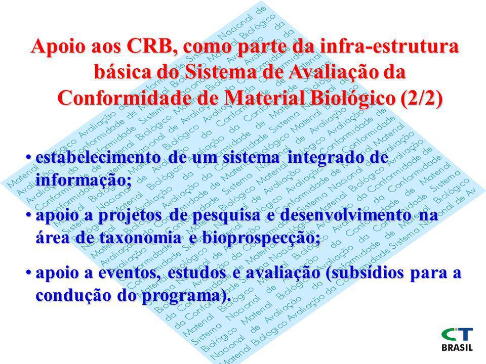 Apoio aos CRB, como parte da infra-estrutura básica do Sistema de Avaliação da Conformidade de Material Biológico (2/2)