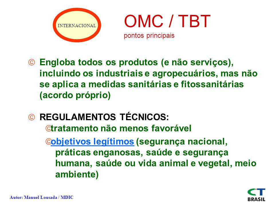 INTERNACIONAL OMC / TBT. pontos principais.