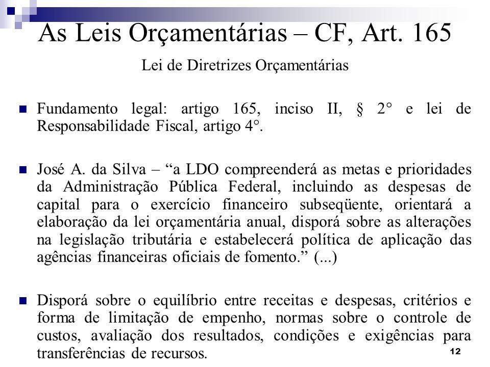 As Leis Orçamentárias – CF, Art. 165