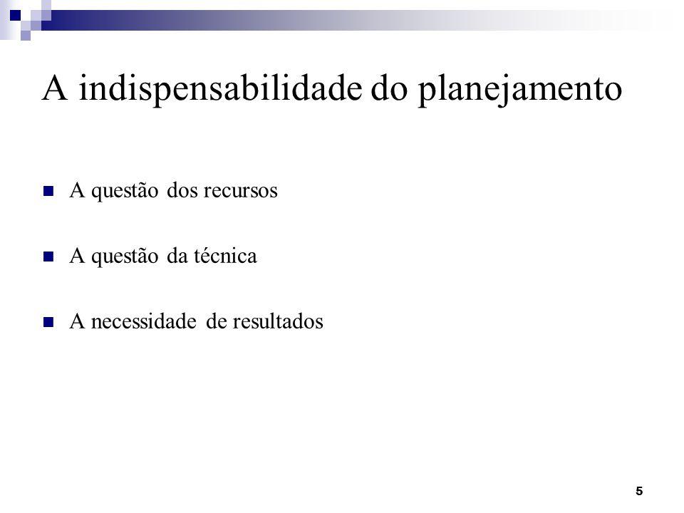 A indispensabilidade do planejamento