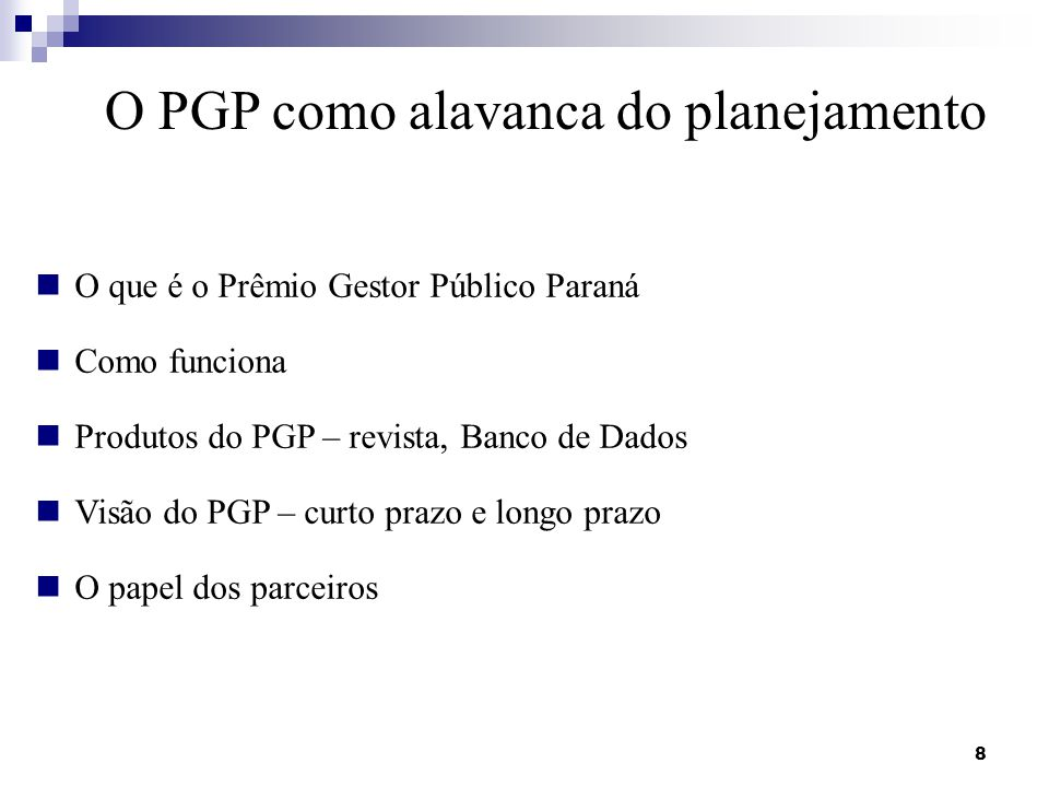 O PGP como alavanca do planejamento