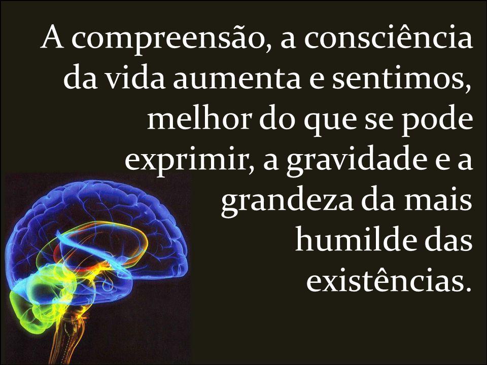 A compreensão, a consciência da vida aumenta e sentimos, melhor do que se pode exprimir, a gravidade e a