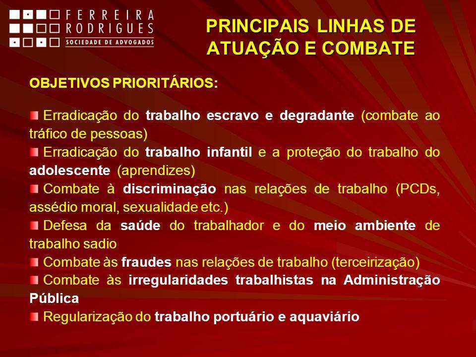 PRINCIPAIS LINHAS DE ATUAÇÃO E COMBATE