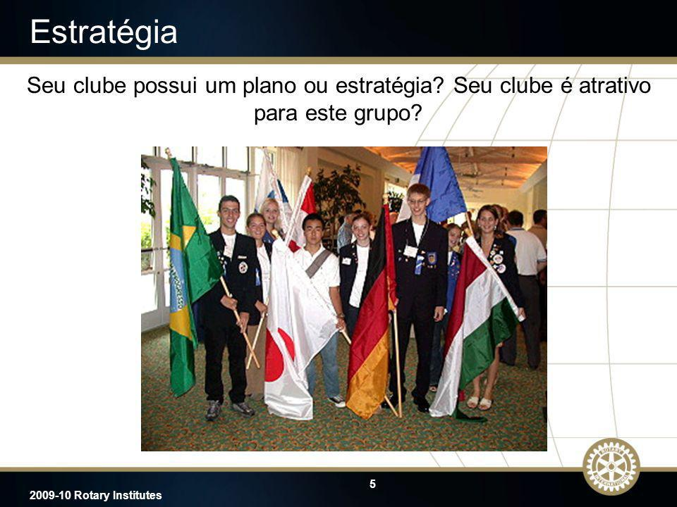 2009-10 Rotary Institutes Estratégia. Seu clube possui um plano ou estratégia Seu clube é atrativo para este grupo