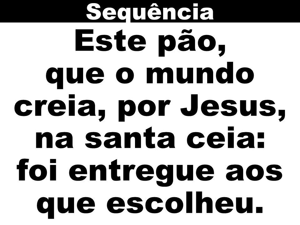 Sequência Este pão, que o mundo creia, por Jesus, na santa ceia: foi entregue aos que escolheu.