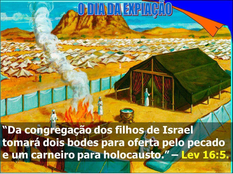 O DIA DA EXPIAÇÃO Da congregação dos filhos de Israel tomará dois bodes para oferta pelo pecado e um carneiro para holocausto. – Lev 16:5.