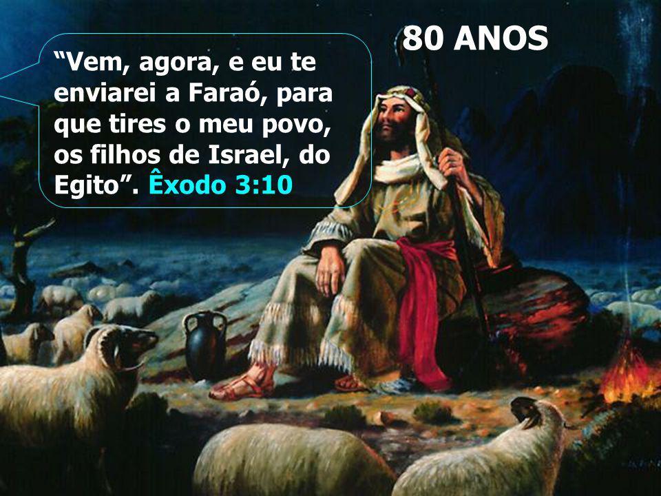 80 ANOS Vem, agora, e eu te enviarei a Faraó, para que tires o meu povo, os filhos de Israel, do Egito .