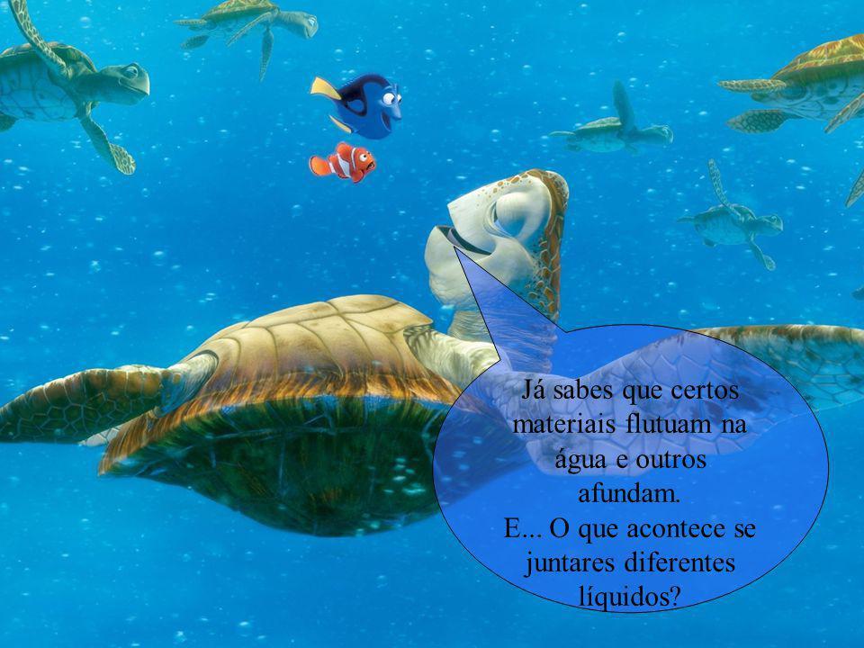 Já sabes que certos materiais flutuam na água e outros afundam.