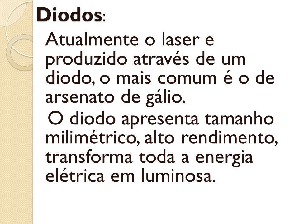 Diodos: Atualmente o laser e produzido através de um diodo, o mais comum é o de arsenato de gálio.