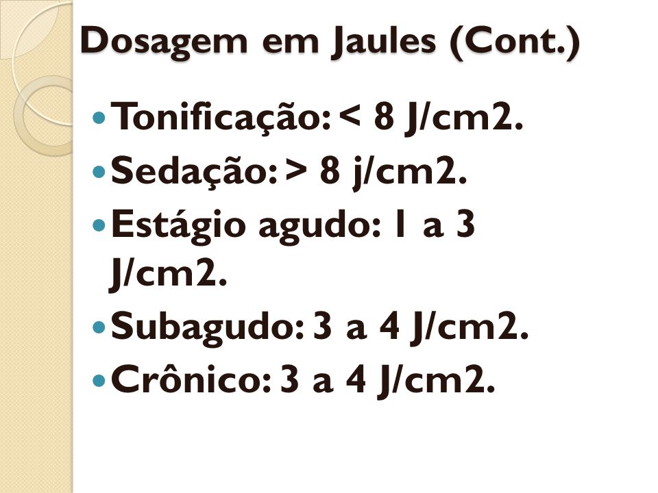 Dosagem em Jaules (Cont.)