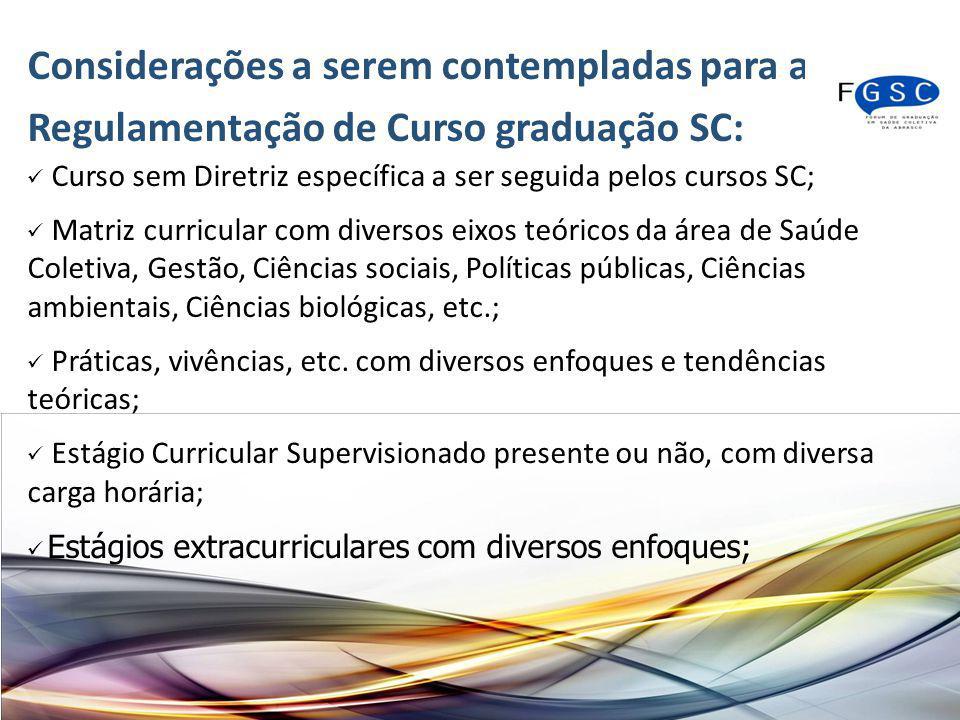Considerações a serem contempladas para a Regulamentação de Curso graduação SC: