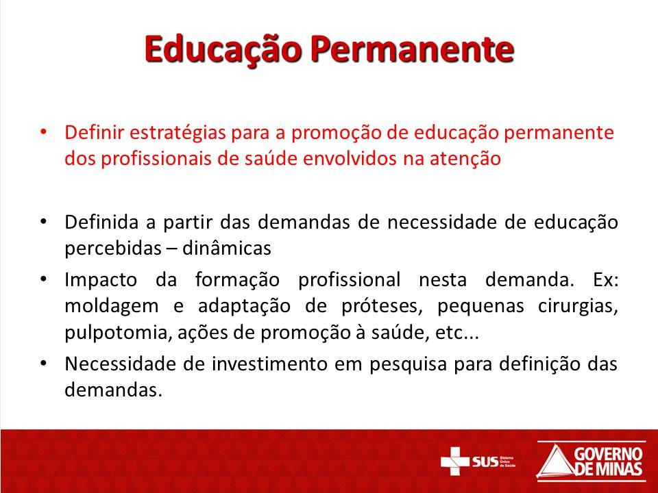 Educação Permanente Definir estratégias para a promoção de educação permanente dos profissionais de saúde envolvidos na atenção.