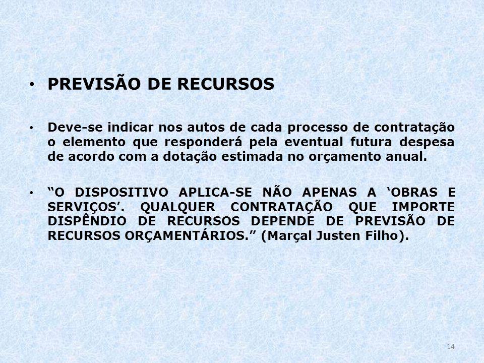 PREVISÃO DE RECURSOS
