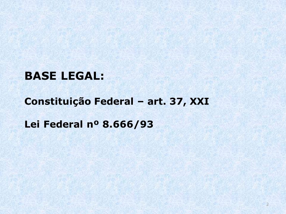 BASE LEGAL: Constituição Federal – art. 37, XXI Lei Federal nº 8