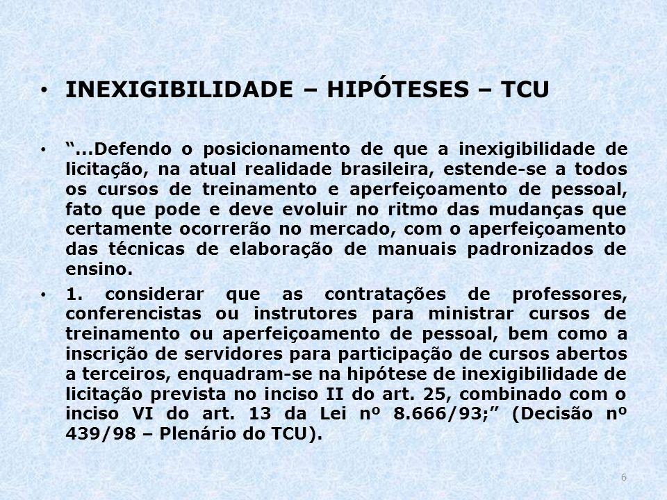 INEXIGIBILIDADE – HIPÓTESES – TCU