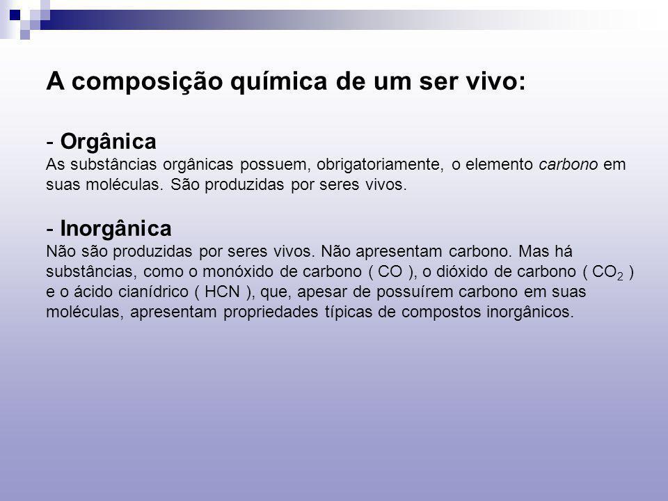 A composição química de um ser vivo:
