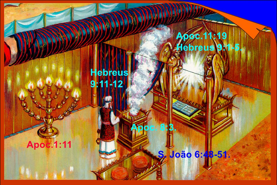 Apoc.11:19 Hebreus 9:1-5. Hebreus 9:11-12 Apoc. 8:3. Apoc.1:11 S. João 6:48-51.