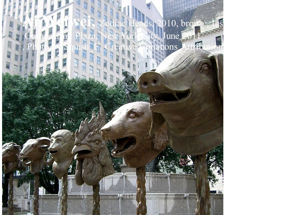 Ai Weiwei, Zodiac Heads, 2010, bronze, Installation in the Pulitzer Fountain,
