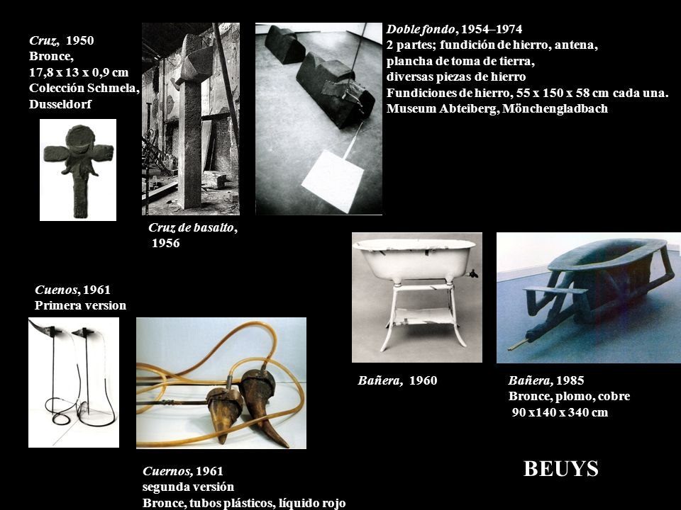 BEUYS Doble fondo, 1954–1974 2 partes; fundición de hierro, antena,