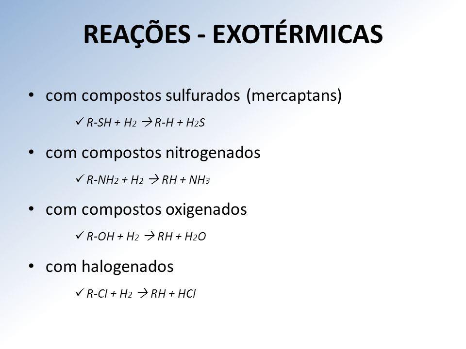 REAÇÕES - EXOTÉRMICAS com compostos sulfurados (mercaptans)