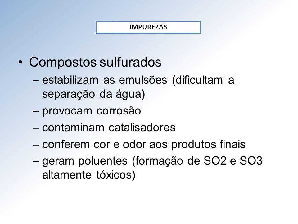 IMPUREZAS Compostos sulfurados. estabilizam as emulsões (dificultam a separação da água) provocam corrosão.