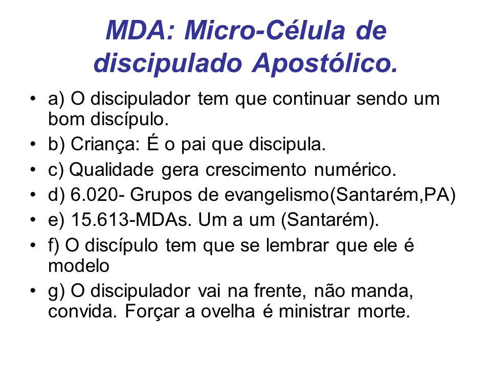 MDA: Micro-Célula de discipulado Apostólico.