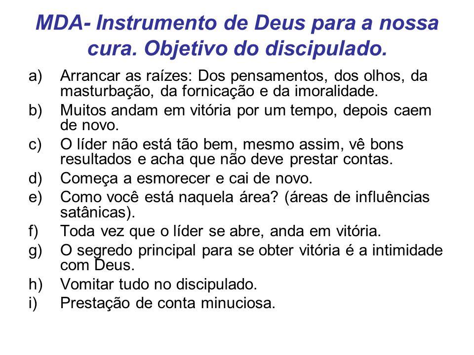 MDA- Instrumento de Deus para a nossa cura. Objetivo do discipulado.