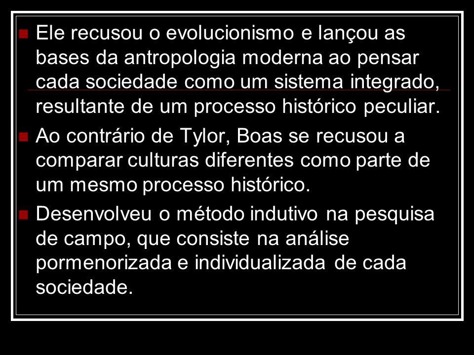 Ele recusou o evolucionismo e lançou as bases da antropologia moderna ao pensar cada sociedade como um sistema integrado, resultante de um processo histórico peculiar.