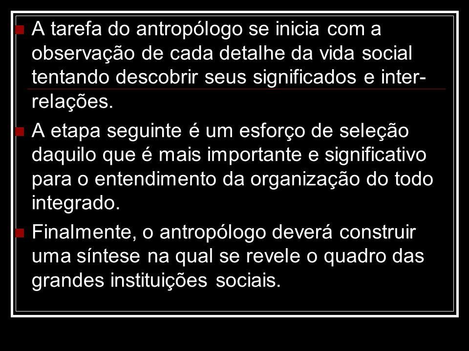 A tarefa do antropólogo se inicia com a observação de cada detalhe da vida social tentando descobrir seus significados e inter-relações.