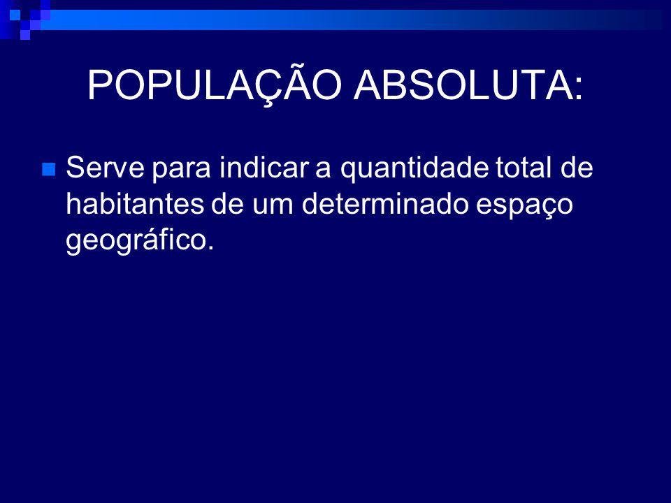 POPULAÇÃO ABSOLUTA: Serve para indicar a quantidade total de habitantes de um determinado espaço geográfico.