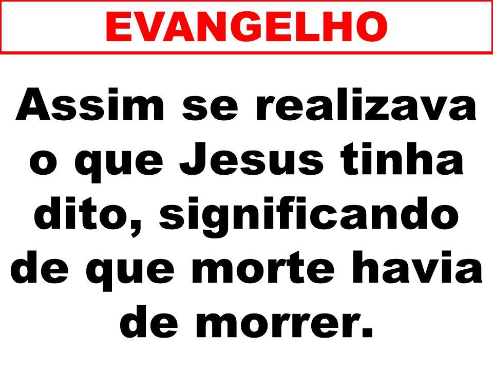 EVANGELHO Assim se realizava o que Jesus tinha dito, significando de que morte havia de morrer. 158