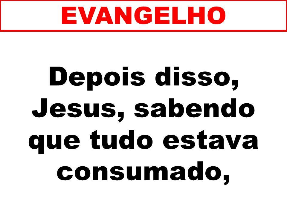 Depois disso, Jesus, sabendo que tudo estava consumado,