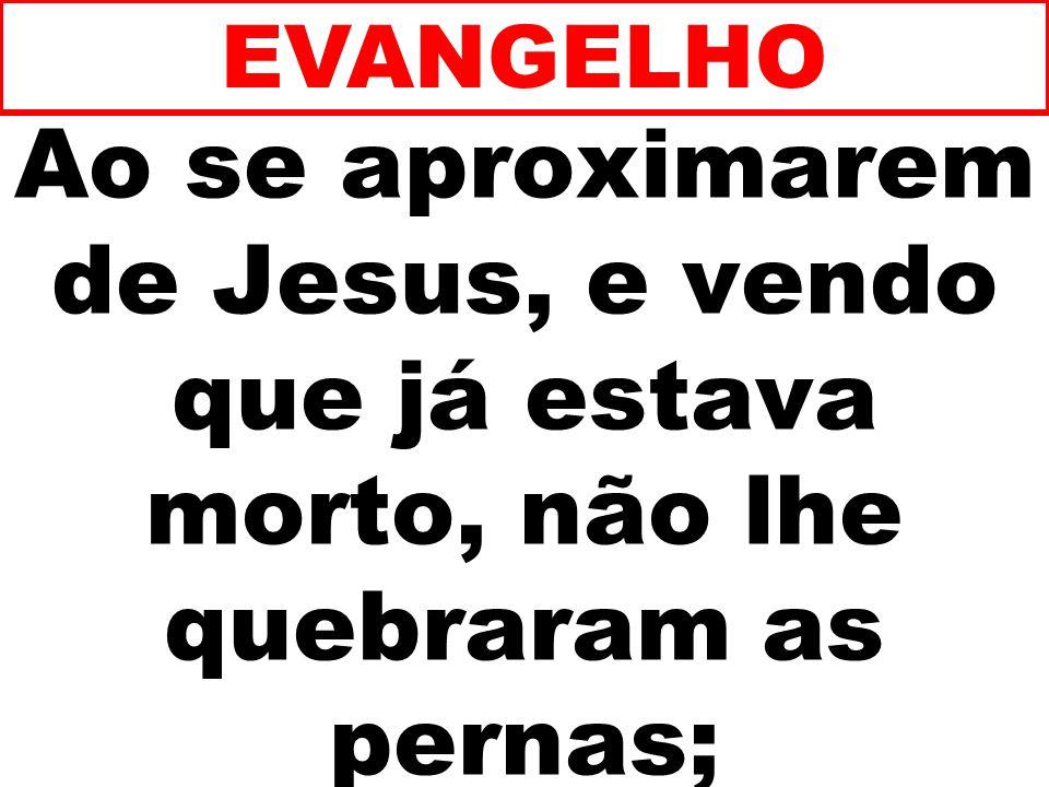 EVANGELHO Ao se aproximarem de Jesus, e vendo que já estava morto, não lhe quebraram as pernas; 254