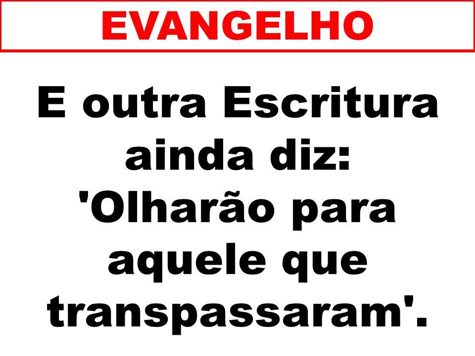 E outra Escritura ainda diz: Olharão para aquele que transpassaram .
