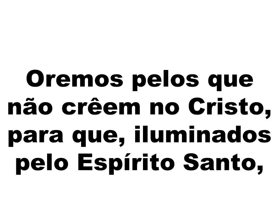 Oremos pelos que não crêem no Cristo, para que, iluminados pelo Espírito Santo,
