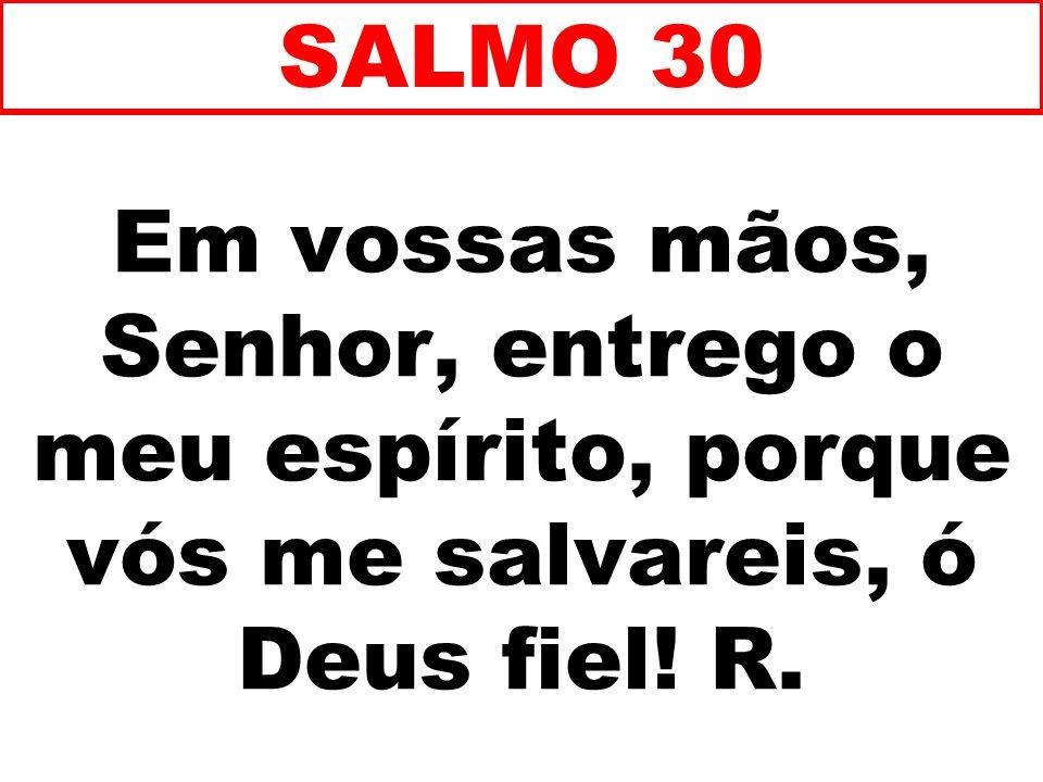 SALMO 30 Em vossas mãos, Senhor, entrego o meu espírito, porque vós me salvareis, ó Deus fiel.