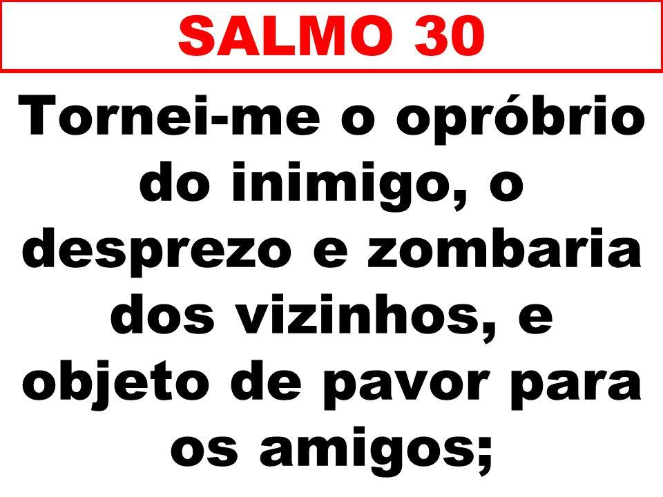 SALMO 30 Tornei-me o opróbrio do inimigo, o desprezo e zombaria dos vizinhos, e objeto de pavor para os amigos;