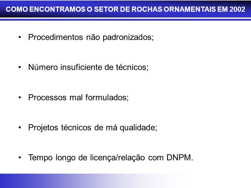 COMO ENCONTRAMOS O SETOR DE ROCHAS ORNAMENTAIS EM 2002