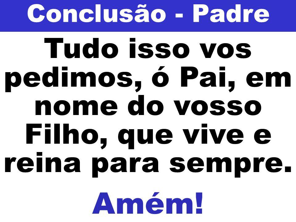 Conclusão - Padre Tudo isso vos pedimos, ó Pai, em nome do vosso Filho, que vive e reina para sempre.