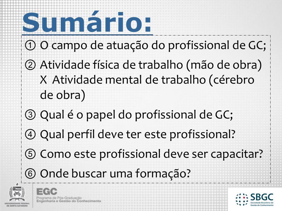 Sumário: O campo de atuação do profissional de GC;
