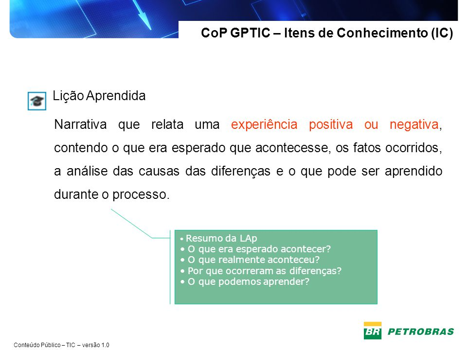 CoP GPTIC – Itens de Conhecimento (IC)