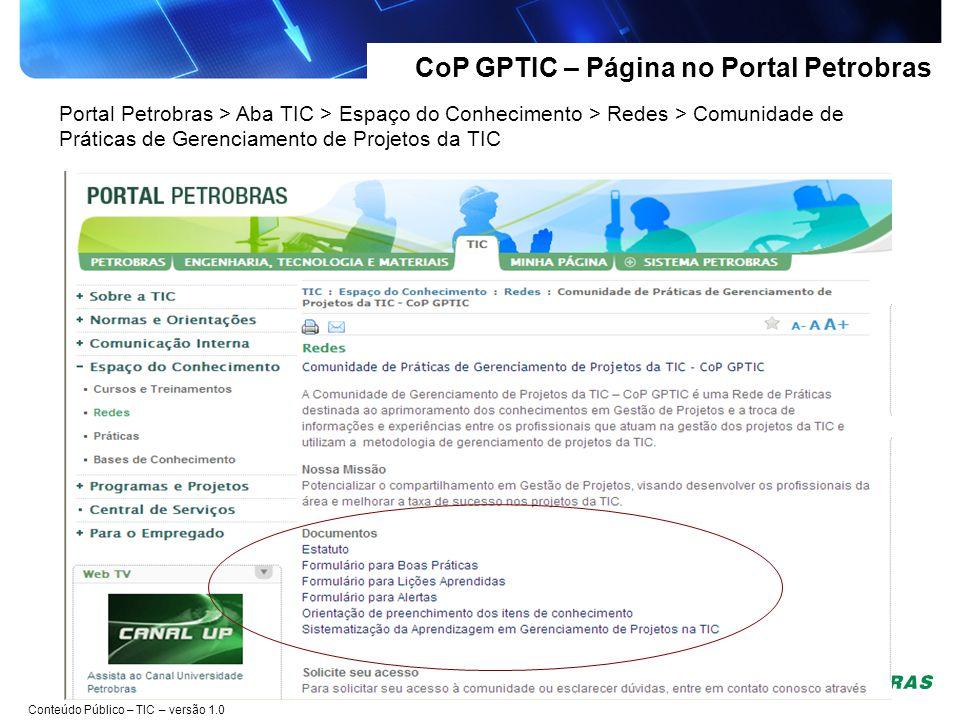 CoP GPTIC – Página no Portal Petrobras