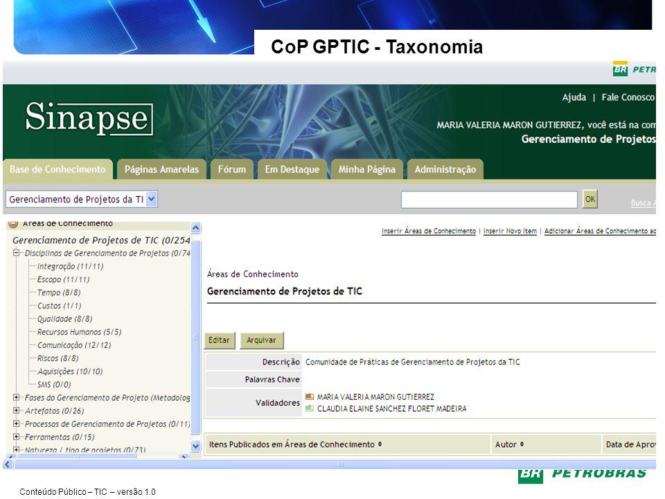CoP GPTIC - Taxonomia Maior integração entre as Gerências da TIC