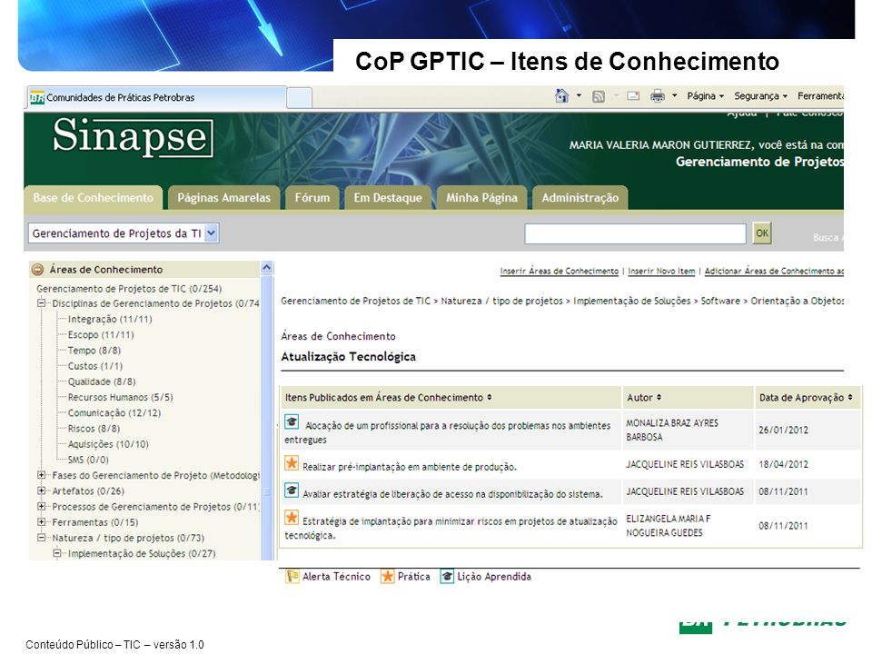 CoP GPTIC – Itens de Conhecimento